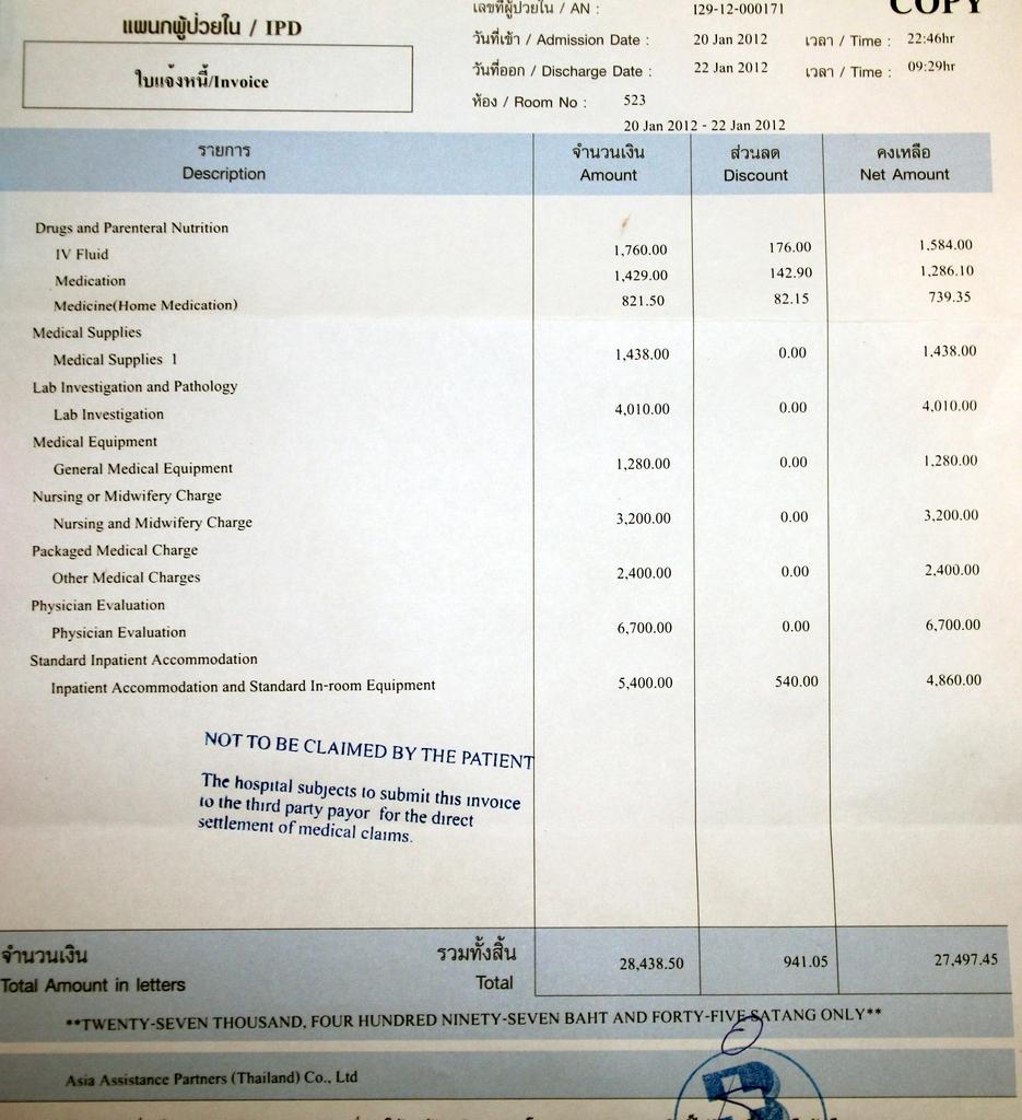 Счет из Bangkok Hospital