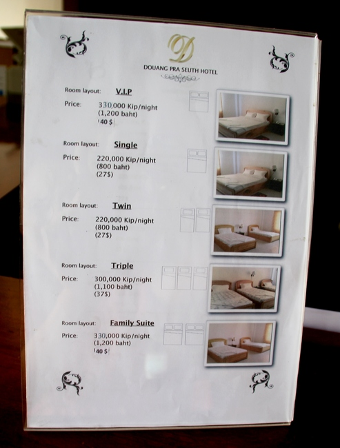 Douang Pra Seuth hotel. Prices