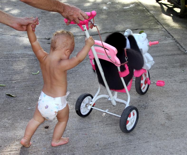 Ребенок 1 год играет с обезьяной