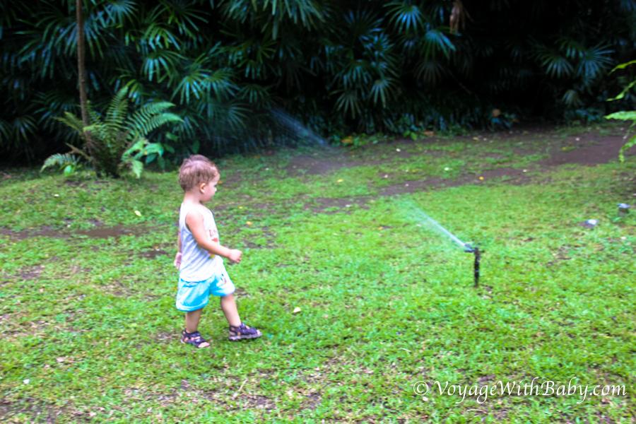 Маленький ребенок играет с водой в зоопарке на Бали