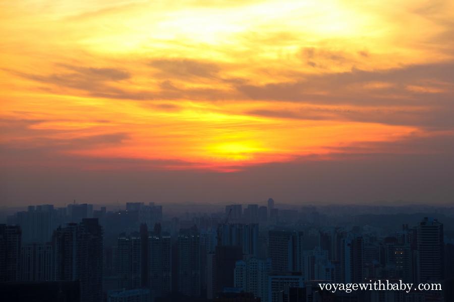 Закат в мегаполисе, вид сверху