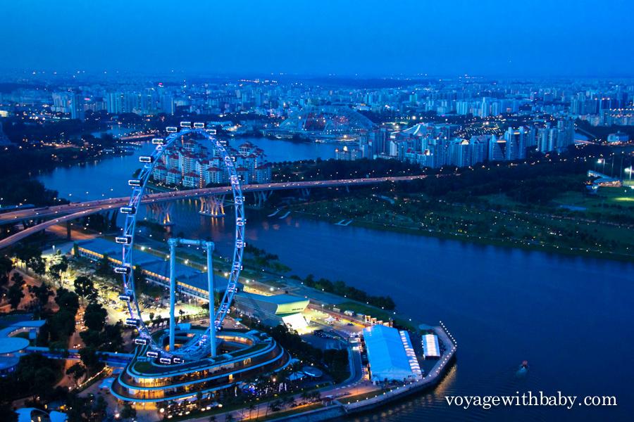 Вид на колесо обозрения и залив в Сингапуре