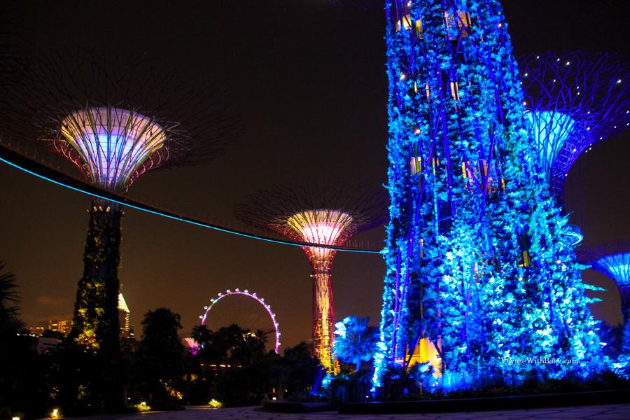 Gardens by the Bay и колесо обозрения в Сингапуре