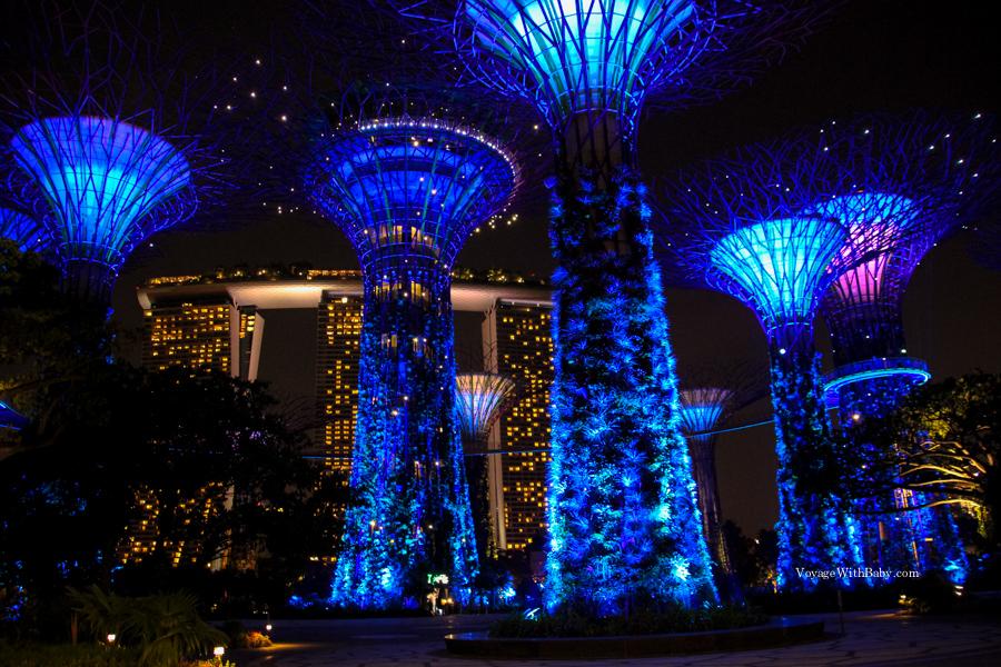 Супердеревья на фоне отеля Marina Bay Sands