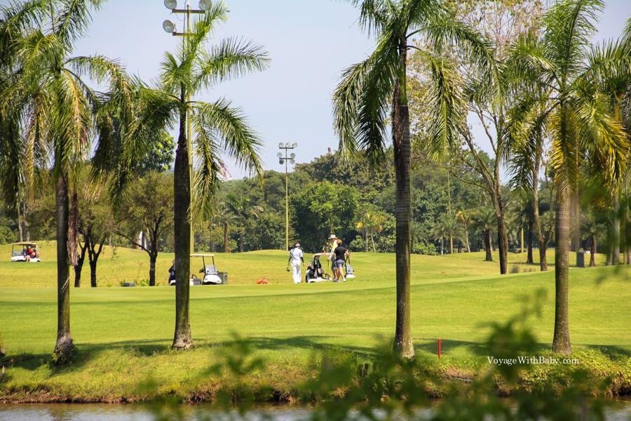 Поле для гольфа  в Сингапуре напротив Японского сада