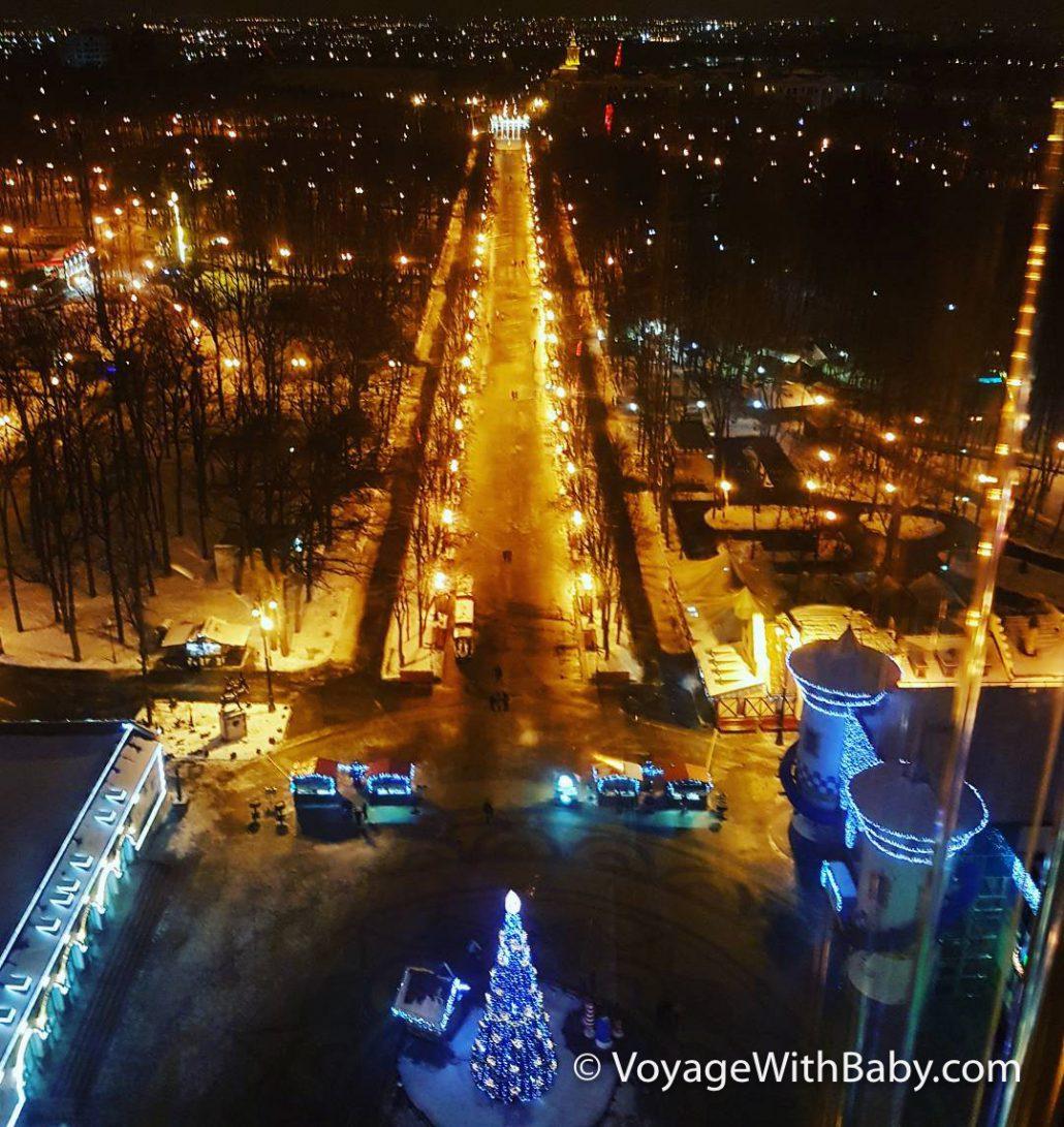 Парк Горького в Харькове - зимой вид сверху
